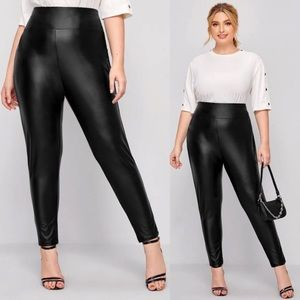 PLUS vegan leather high waist leggings black glam